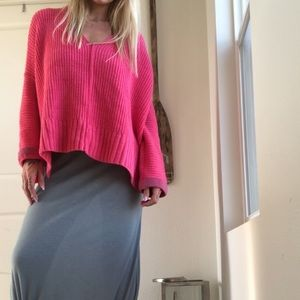 Pink loose fitting knit sweater